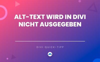 Divi ALT-Text in Bildern fehlt